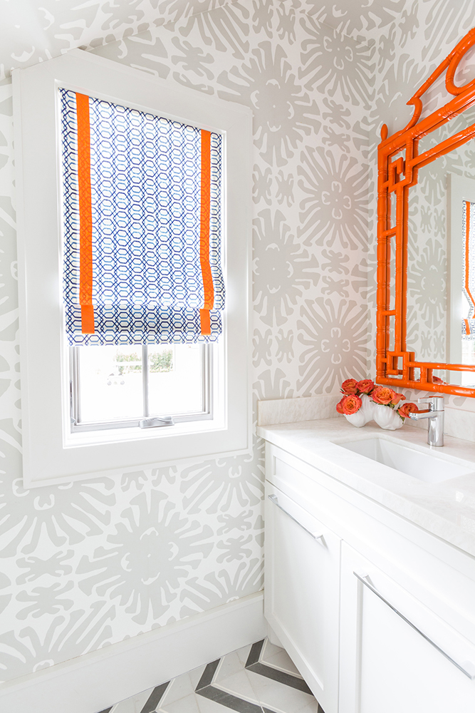 orange Chippendale mirror