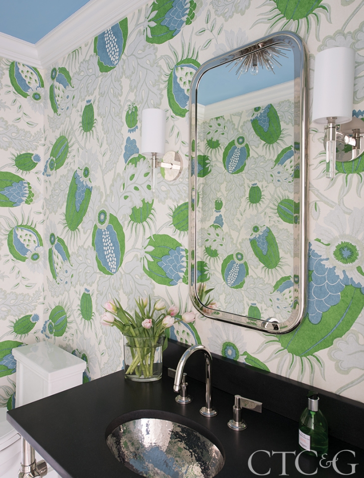big floral guest bath with green and blue