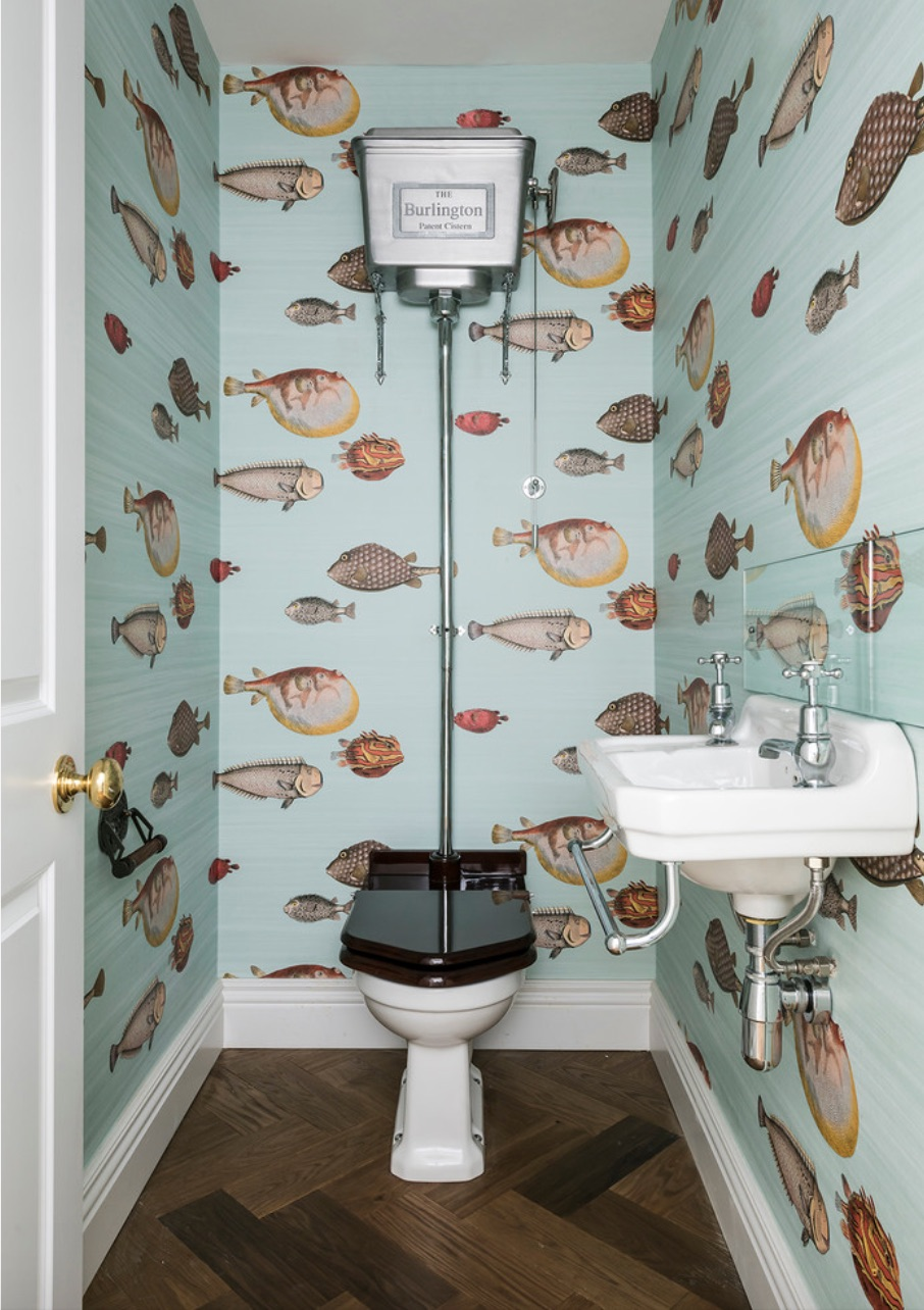 old style bathroom with fish wallpaper