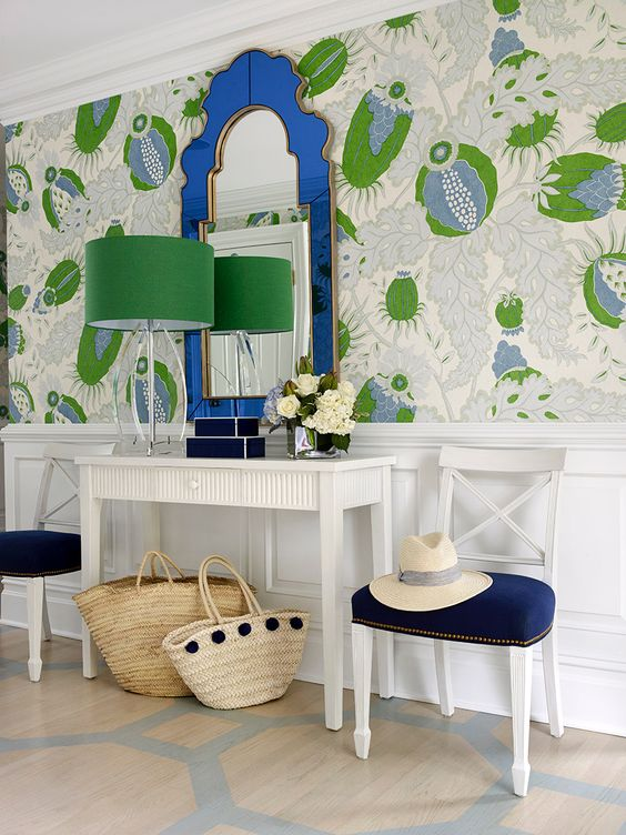 bold large scale wallpapered foyer